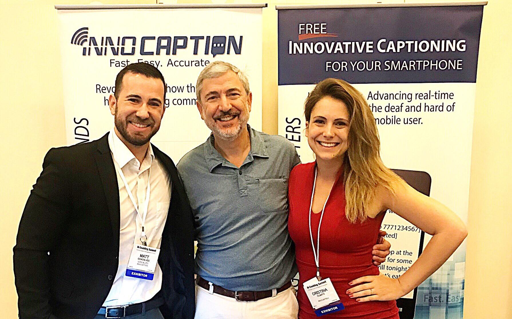 Joe Duarte (center) and Christina Duarte with a team member. Credit: InnoCaption